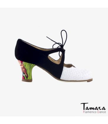 flamenco shoes professional for woman - Begoña Cervera - Dulce white snakeskin black suede carrete painted