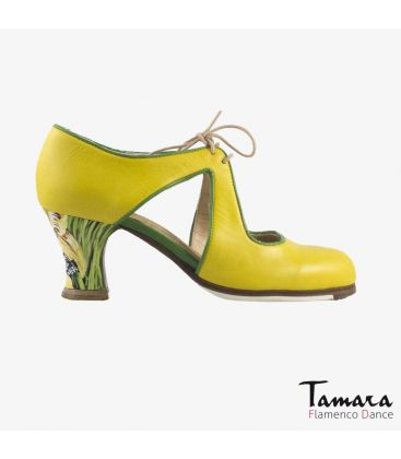 flamenco shoes professional for woman - Begoña Cervera - Escote yellow leather carrete pintado