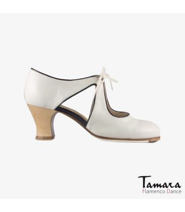 flamenco shoes professional for woman - Begoña Cervera - Escote white leather carrete madera