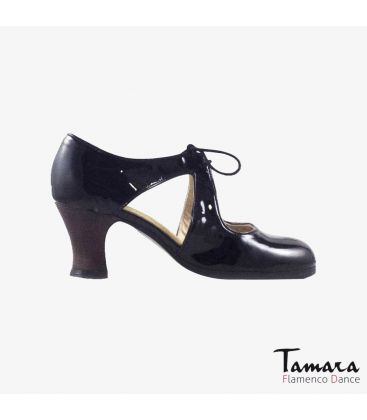 flamenco shoes professional for woman - Begoña Cervera - Escote black patent leather carrete dark wood