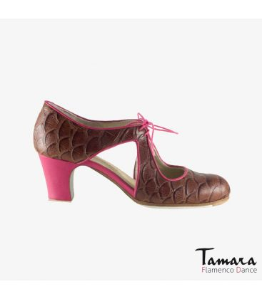 flamenco shoes professional for woman - Begoña Cervera - Escote brown alligator fuchsia leather classic heel