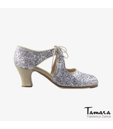 flamenco shoes professional for woman - Begoña Cervera - Escote silver glitter and beige suede carrete