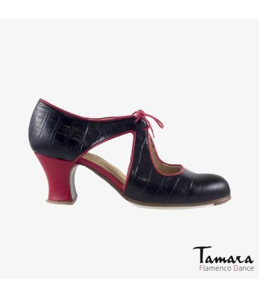 flamenco shoes professional for woman - Begoña Cervera - Escote black alligator red leather carrete