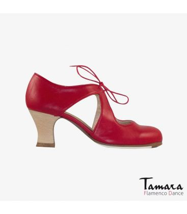 flamenco shoes professional for woman - Begoña Cervera - Escote red leather carrete wood