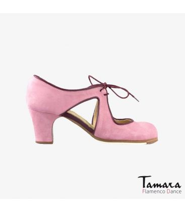 flamenco shoes professional for woman - Begoña Cervera - Escote pink suede classic heel