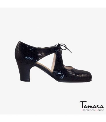 flamenco shoes professional for woman - Begoña Cervera - Escote black snakeskin classic heel