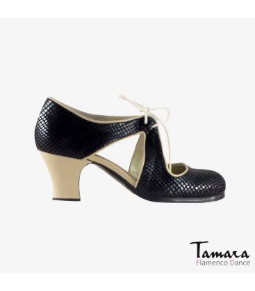 flamenco shoes professional for woman - Begoña Cervera - Escote black snakeskin and chino leather carrete