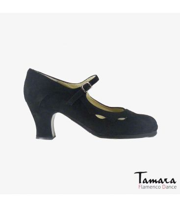 flamenco shoes professional for woman - Begoña Cervera - Estrella black suede carrete
