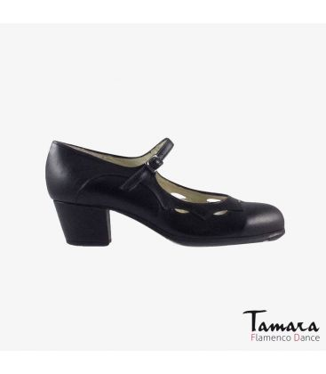 flamenco shoes professional for woman - Begoña Cervera - Estrella black leather cubano heel