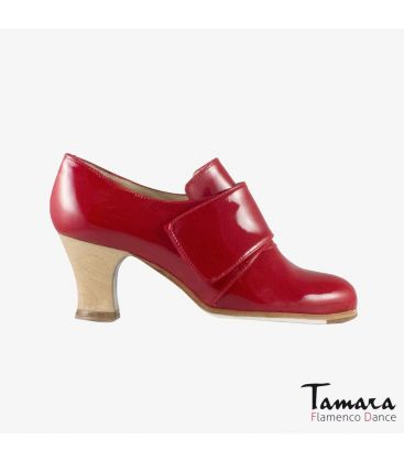 flamenco shoes professional for woman - Begoña Cervera - Goya red patent leather carrete wood