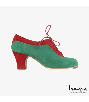 flamenco shoes professional for woman - Begoña Cervera - Ingles Coco green and red suede carrete