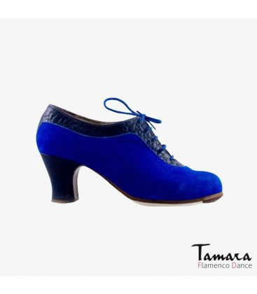 flamenco shoes professional for woman - Begoña Cervera - Ingles Coco blue alligator and suede carrete