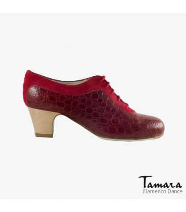flamenco shoes professional for woman - Begoña Cervera - Ingles Coco red suede and bordeaux alligator classic wood 5cm heel