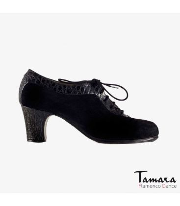 flamenco shoes professional for woman - Begoña Cervera - Ingles Coco black suede and alligator classic heel