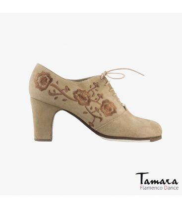 flamenco shoes professional for woman - Begoña Cervera - Ingles Bordado (embroidered) beige suede classic 7cm heel