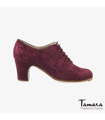 flamenco shoes professional for woman - Begoña Cervera - Ingles Bordado (embroidered) bordeaux suede classic heel