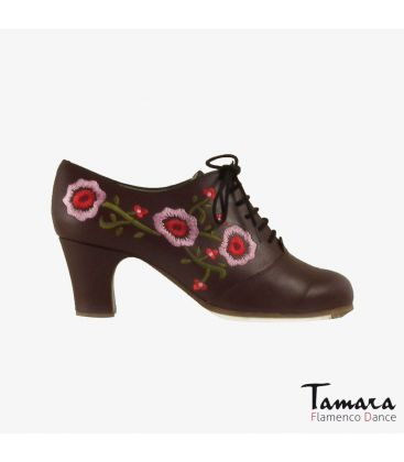 flamenco shoes professional for woman - Begoña Cervera - Ingles Bordado (embroidered) black suede classic heel