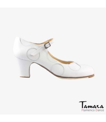 flamenco shoes professional for woman - Begoña Cervera - Lunares white leather classic heel