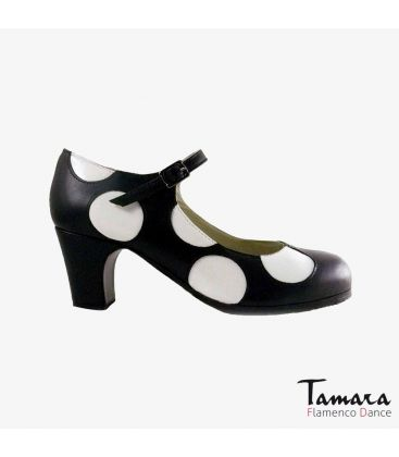 flamenco shoes professional for woman - Begoña Cervera - Lunares white and black leather classic heel