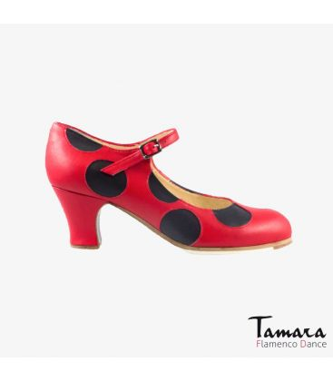 flamenco shoes professional for woman - Begoña Cervera - Lunares red and black leather carrete