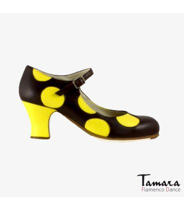 flamenco shoes professional for woman - Begoña Cervera - Lunares yellow and black leather carrete
