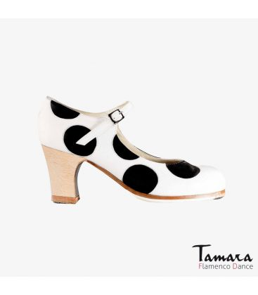 flamenco shoes professional for woman - Begoña Cervera - Lunares white and black leather classic wood heel