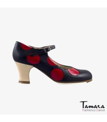 flamenco shoes professional for woman - Begoña Cervera - Lunares red and black leather carrete wood heel