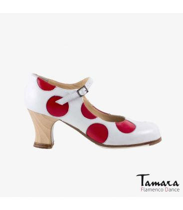 flamenco shoes professional for woman - Begoña Cervera - Lunares red and white leather carrete wood heel