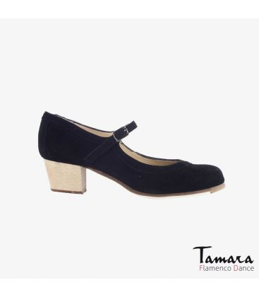 flamenco shoes professional for woman - Begoña Cervera - Salon Correa black suede cubano wood heel