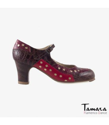 flamenco shoes professional for woman - Begoña Cervera - Patch brown alligator golden classic heel
