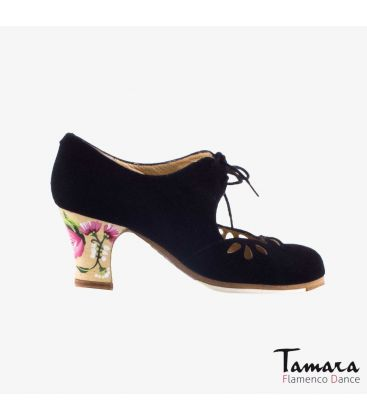 flamenco shoes professional for woman - Begoña Cervera - Petalos black suede carrete painted heel