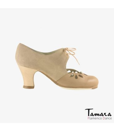 flamenco shoes professional for woman - Begoña Cervera - Petalos beige suede and leather carrete wood heel