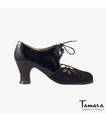 flamenco shoes professional for woman - Begoña Cervera - Petalos black suede and patent leather carrete dark wood heel