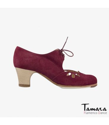 flamenco shoes professional for woman - Begoña Cervera - Petalos bordeaux suede classic 5cm wood heel