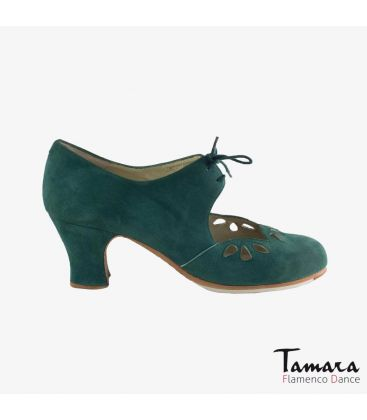 flamenco shoes professional for woman - Begoña Cervera - Petalos dark green suede carrete heel