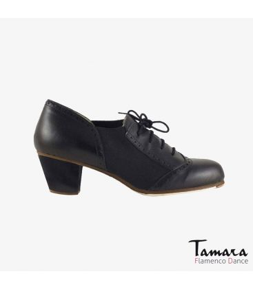 in stock flamenco shoes professionals - Begoña Cervera - Picado Woman black leather cubano heel