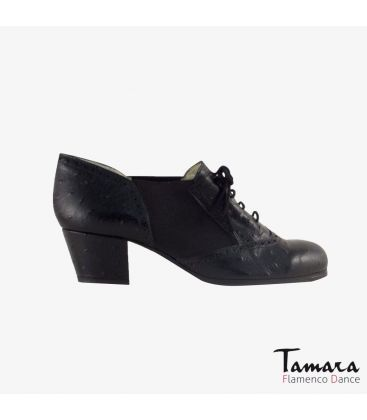 in stock flamenco shoes professionals - Begoña Cervera - Picado Woman black ostrich leather cubano heel