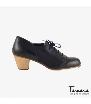 in stock flamenco shoes professionals - Begoña Cervera - Picado Woman black leather cubano wood heel