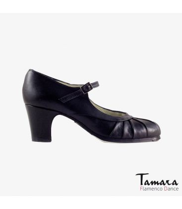 flamenco shoes professional for woman - Begoña Cervera - Plisado black leather classic heel