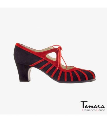 flamenco shoes professional for woman - Begoña Cervera - Primor red and black suede classic heel
