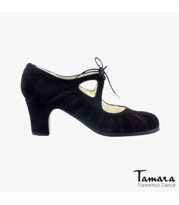 flamenco shoes professional for woman - Begoña Cervera - Primor black suede classic heel