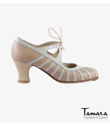 flamenco shoes professional for woman - Begoña Cervera - Primor beige and chino leather carrete madera
