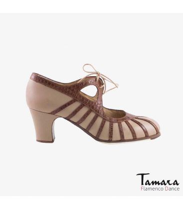 flamenco shoes professional for woman - Begoña Cervera - Primor beige leather alligator brown classic heel