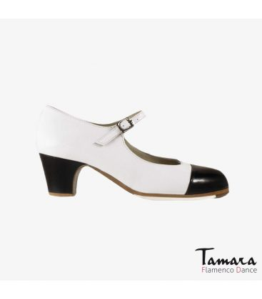 flamenco shoes professional for woman - Begoña Cervera - Puntera white and black leather classic 5cm heel