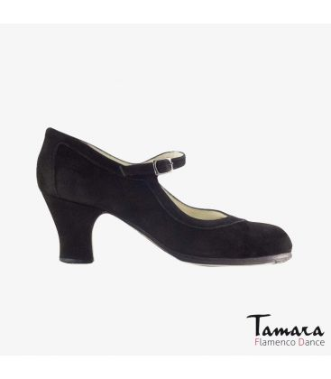 flamenco shoes professional for woman - Begoña Cervera - Salon Correa black suede carrete