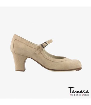 flamenco shoes professional for woman - Begoña Cervera - Salon Correa beige suede classic heel