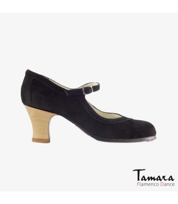 flamenco shoes professional for woman - Begoña Cervera - Salon Correa noir suede carrete wood
