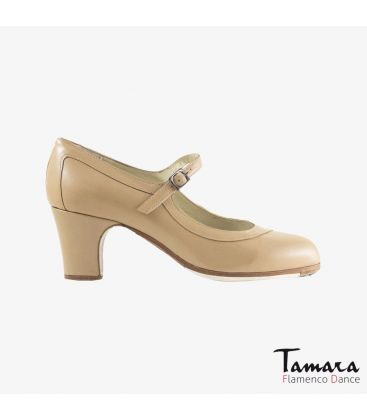 flamenco shoes professional for woman - Begoña Cervera - Salon Correa beige leather classic heel