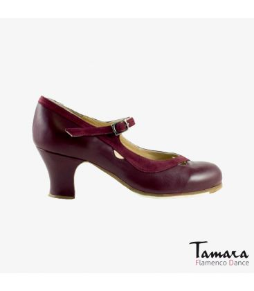 flamenco shoes professional for woman - Begoña Cervera - Salon Correa II bordeaux leather and suede carrete