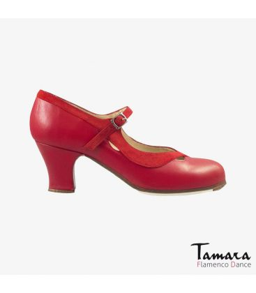 flamenco shoes professional for woman - Begoña Cervera - Salon Correa II red leather and suede carrete